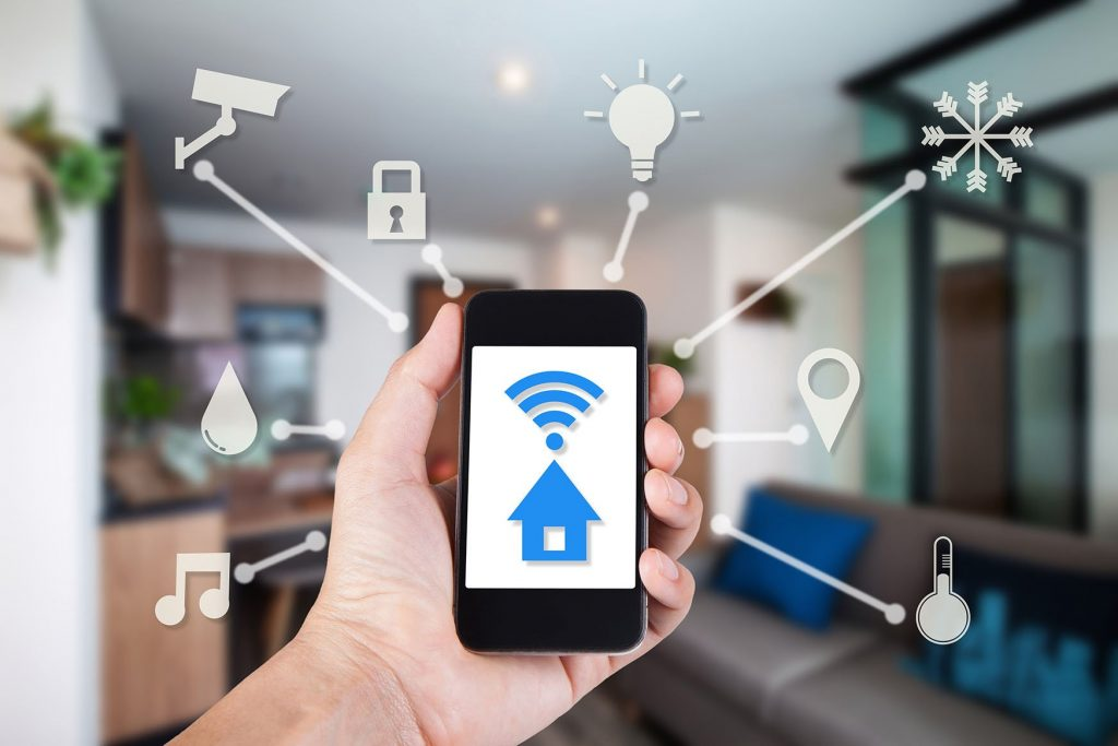 Hand Using Smartphone By App Smart Home On Mobile For Remote Con